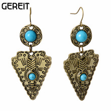 Jewelry Marbled Stone Vintage Silver Gold Dangle Earrings for Women Pendientes Accesssories boucle d'oreille Retro Earring(China)