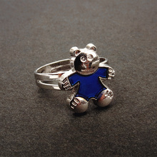 Women Mood ring Mini bear ring Temperature Change Color(China)
