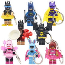 KAZI Batman Superheroes Keychain Building Blocks DIY Toys Gifts Key Chain Batman With Duck Swimming Ring Pink Power Batgirl(China)