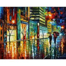 Landscape Oil painting pictures night jerusalem palette knife canvas wall art modern home decor