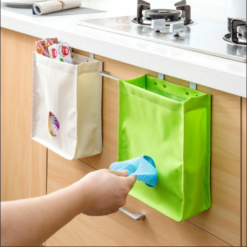 Storage Bag Extracting The Kitchen Cupboard Door Back Hanging Bag Versatile Finishing Hang The Bag Free Shipping 5ZCF023(China (Mainland))