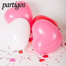 10pcs/lot 2.2g heart pink Balloons Birthday Party Baloons Aniversario Decorations Air Balloons Love Heart Shape(China)