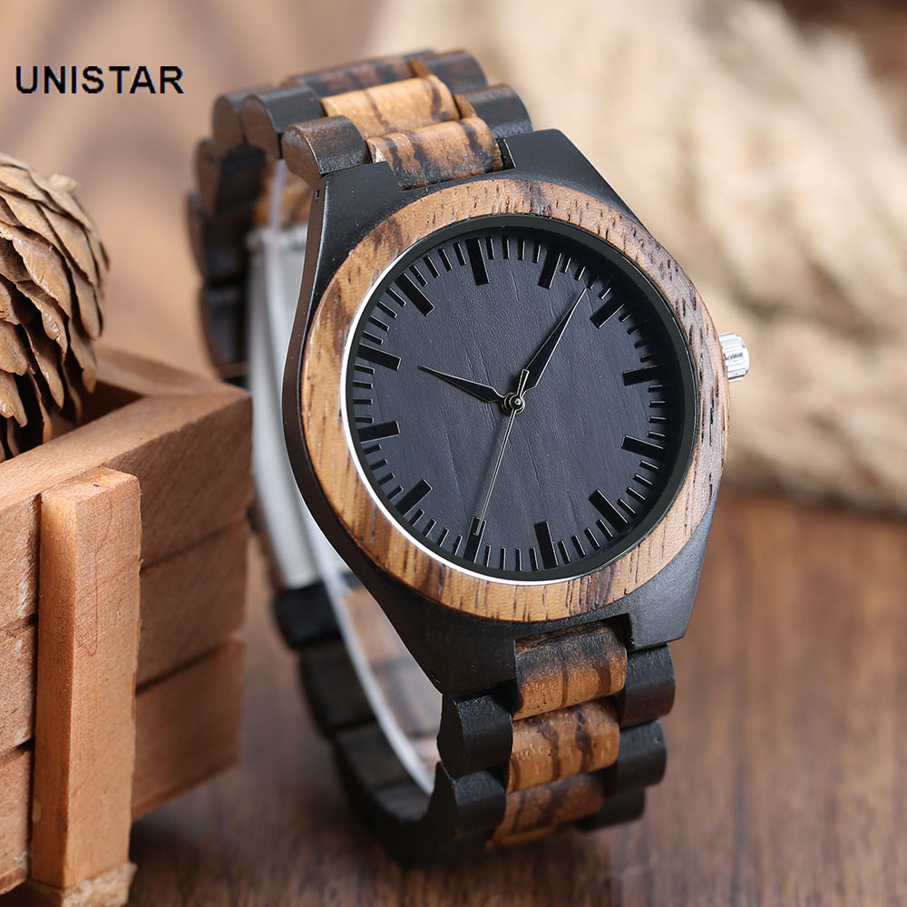 UNISTAR Luxury Fashion Antique Black Dial Nature Wooden Watches Quartz Fathers Day Gift Top Men Watches Relojes de madera<br>