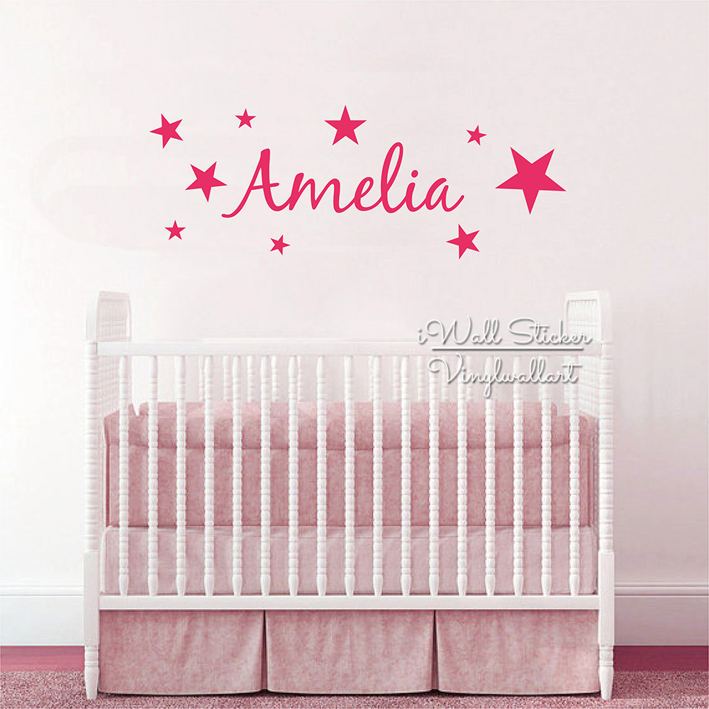 Stars Name Wall Sticker Children Name Wall Decal Baby Nursery Star Girls  Name Wall Decor Kids Part 96