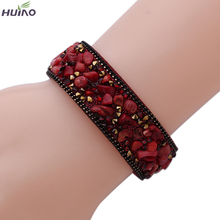 10colors 20cm Length New Design Fashionable Different colors Stone Leather Bangles & Bracelet For Women(China)