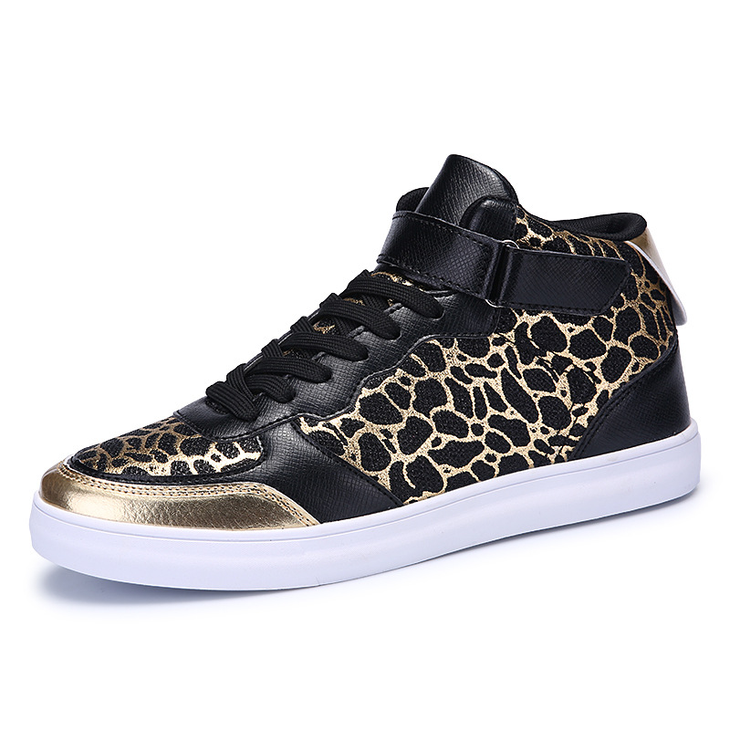 Luxury Brand Men Casual Shoes High Top Leopard Printed Hip Hop Shoes Male Gumshoes Trainers Flats Zapatillas Deportivas XK040609<br>
