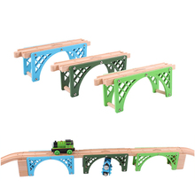p095pure beech double-sided bridge wood track accessories compatible Thomas wooden train track children benefit track game scene(China)