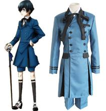 Black Butler 2 Kuroshitsuji Ciel Phantomhive Cosplay Costume Full Set Formal Dress ( Top + Shirt + Shorts + Bowknot + Bow Tie )