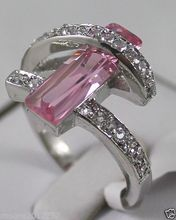 Wholesale price 16new ^^^^free post Jewelry pink Crystal Ring Size :7 8