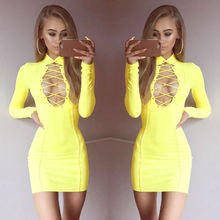 Buy Womens Lady Solid Sexy Dresses Clothing Women Deep V Lace Bandage Bodycon Party Evening Ladies Short Mini Dress for $7.82 in AliExpress store