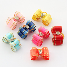Armi store Handmade Puppy Fashion Grooming Accessories 6021007 Cute Mini Multicolor Ribbon Hair Bow Poodle Dog(China)