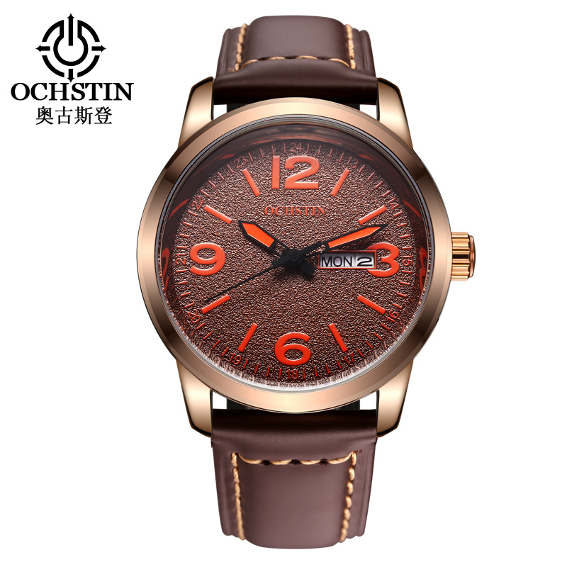 OCHSTIN Fashion Top Watch Men Frosted Dial Hours Date Week Luxury Waterproof Sport Watch Band Leather MENS Quartz Wristwatches <br><br>Aliexpress