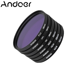 Andoer 58mm Polarizing Fluorescent Neutral Density Filter Kit UV+CPL+FLD+ND(ND2 ND4 ND8) Filter for Nikon Canon Sony Pentax DSLR