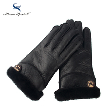 Athena Special Winter Women Gloves Real Leather Wool Fur Female Sheepskin Leather Fur Gloves Winter Warm thickening Gloves black(China)
