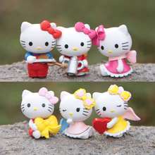 6pcs/lot 2*3cm Lovely Hello Kitty Cat Miniature Figurines Toys Model Kids Toys PVC Japanese Anime Children Action Figure Toy
