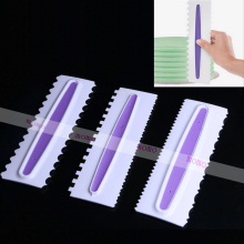Wholesale 10 Sets(3 pcs/Set) Plastic Pastry Icing Comb Set Cake Scraper 6 Design Textures Kitchen Accessories Cake Tools(China)