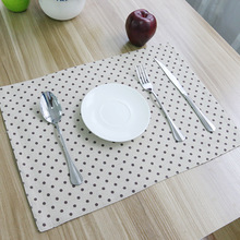 4 pieces/lot 2015 New Arrival Fresh Dotted Korean Cotton Linen Placemats Brown Dots Table Pad Good Heat Insulating Table Mat