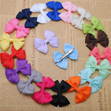 20 pcs high quality 2 1/4 inches solid grosgrain boutique hair ribbon bows with alligator clips girls hairpin free shipping(China)