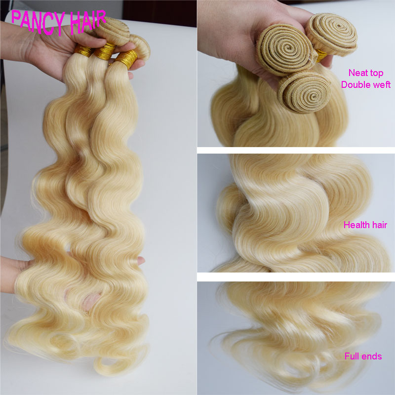 TOP Virgin Hair high quality Blonde Human Hair Weaving malaysian virgin hair body wave 613 3pcs/lot body wave Blonde hair weaves<br><br>Aliexpress