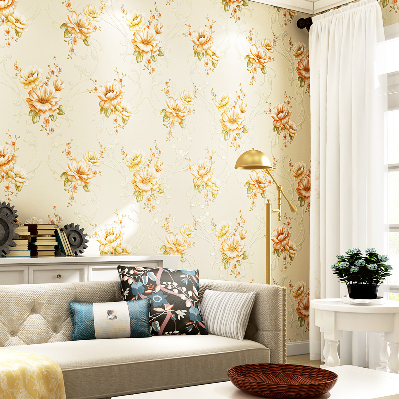 American Style Rustic Big Floral Wallpapers Design Embossed Non Woven Wall Paper for Bedroom Walls Yellow Flower Wallpaper Roll<br>