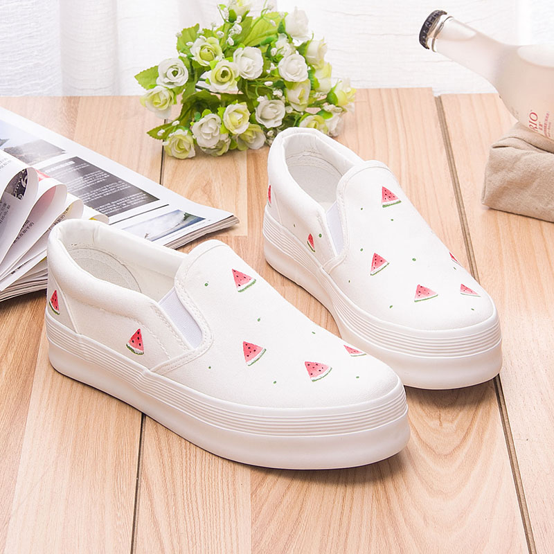 New Cute Fruits Print Womens Platform Shoes Summer 2017 Hand Painted Canvas Shoes Slip on Women Loafers Girls Flats Zapatos<br><br>Aliexpress