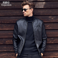 Enjeolon brand 2017 new Motorcycle male PU Leather Jackets man, zipper Stand collar overcoat Male Casual black Coats P311(China)