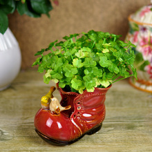 Funny and Creative Ceramics Leather Shoe and Birds Plant Flower Pot Decorative Handicraft Furnishing for Room and Gardening(China)