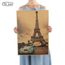 TIE LER Paris Eiffel Tower Nostalgia Photo Kraft Paper Bar Poster Retro Poster Decorative Painting