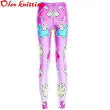 Harajuku 3D printed pink back colorful Grass Mud Horse high waist casual legging fitness pencil pants skinny pants ankle length