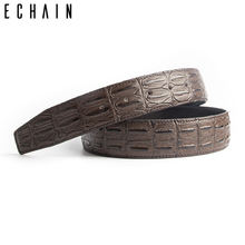 ECHAIN Strap Business Crocodile Luxury Belts Male Genuine Real Leather Wedding Belt for Jeans Women Punk Waistband No Buckle(China)