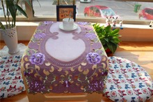 Modern Lace fabric purple Embroidery Table Runner cloth cover mantel rectangular organza tablecloth mat for garden Wedding decor