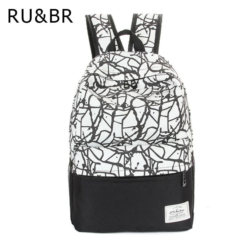 RU&amp;BR Fashion Printing Graffiti Patchwork Men &amp; Women Casual Canvas Backpacks School Bags For Teenagers Travel Mochila Rucksacks<br><br>Aliexpress