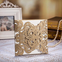 50pcs Gold Laser Cut Lace Hollow Wedding Invitation Card Greeting Cards Postcard Customize Printing Wedding Event Party Supplies(China)
