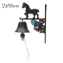 KiWarm Vintage Castle Style Rusted Horse Cast Iron Door Bell Wall Mounted Garden Decoration Ornament(China)