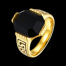 Classic popular stainless steel series men's wedding band embedded wall panels noble luxury Men's gold Geometric Black Onyx ring(China)