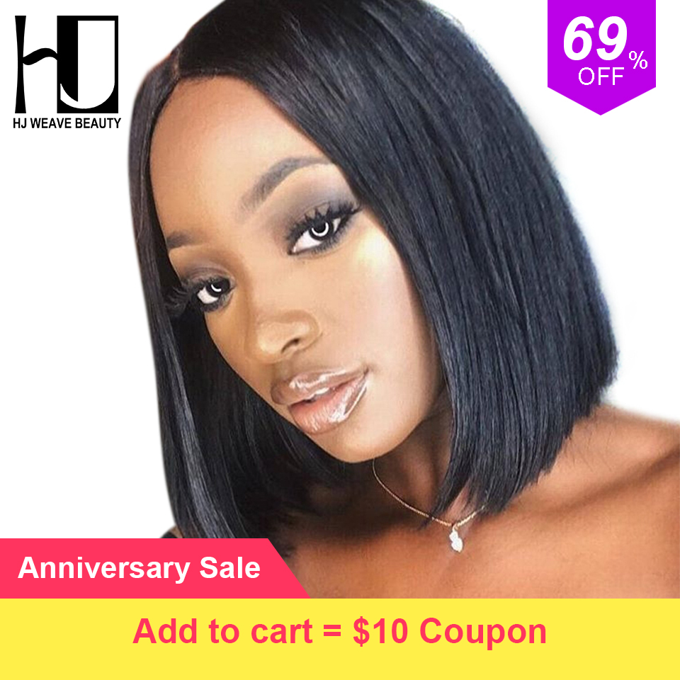 Short Lace Front Human Hair Wigs Brazilian Bob Wig with Pre Plucked Hairline Lace Wig For Black Women Remy Hair Natural Color(China)