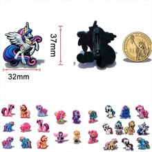 6-10Piece Little Ponies Cartoon PVC Badges Pins Brooches Pinback Clothes/Bag Decorations Kid Party Gift Accessory Badges(China)
