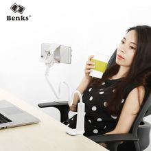Benks Universal Mobile Phone Holder Long Arm Lazy Mount Bracket Stand for Desk Bed 360 Degree Flexible Rotate mont blanche White(China)