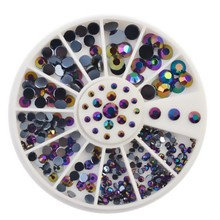 4 Sizes Black AB Acrylic Rhinestones Nail Studs Supplies Glitter Wheel 3D Nail Art Tips DIY Decorations ZP041