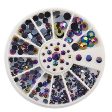 4 Sizes Black AB Acrylic Rhinestones Nail Studs Supplies Glitter Wheel 3D Nail Art Tips DIY Decorations ZP041(China)