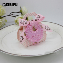 12pcs/lot Cute Bear DIY Gift Christening Baby Shower Party Favor Boxes Paper Candy Box with Bib Tags & Ribbons Hot Sale