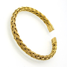 Wholesale Luxury Stainless Steel Twisted Chain Cable Bracelet Men Gold Open Cuff Bracelets Bangles Plait wire Jewelry