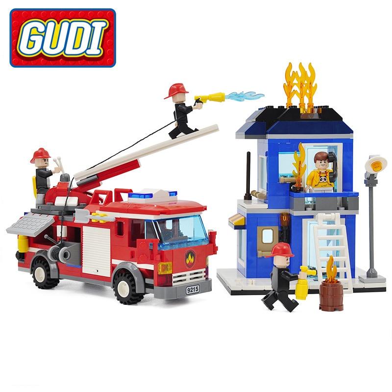 GUDI City Fire Emergency Truck Blocks 431pcs Bricks Building Block Sets Model Educational Toys For Children