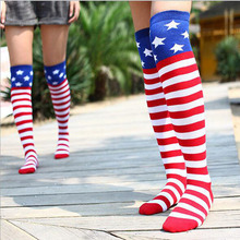 United States flag long cylinder stripes star hip hop jazz dance knee socks stockings Women Thigh High Sexy Harajuku Stockings(China)