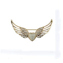Angel wings peach opal brooch lapel pins for men brooches Valentine's Day gift jewelry costume jewelry brooches bouquets(China)