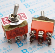 5pcs/lot E-TEN1322 toggle switch 6 pin head 3 grade switch double pole double throw toggle switch power supply(China)