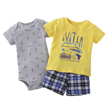 2017 Retail babies Baby Kids children summer clothes, baby poop Games (Suit + Short + Mono) 3 unids Set, cartered Whale Knocking(China)