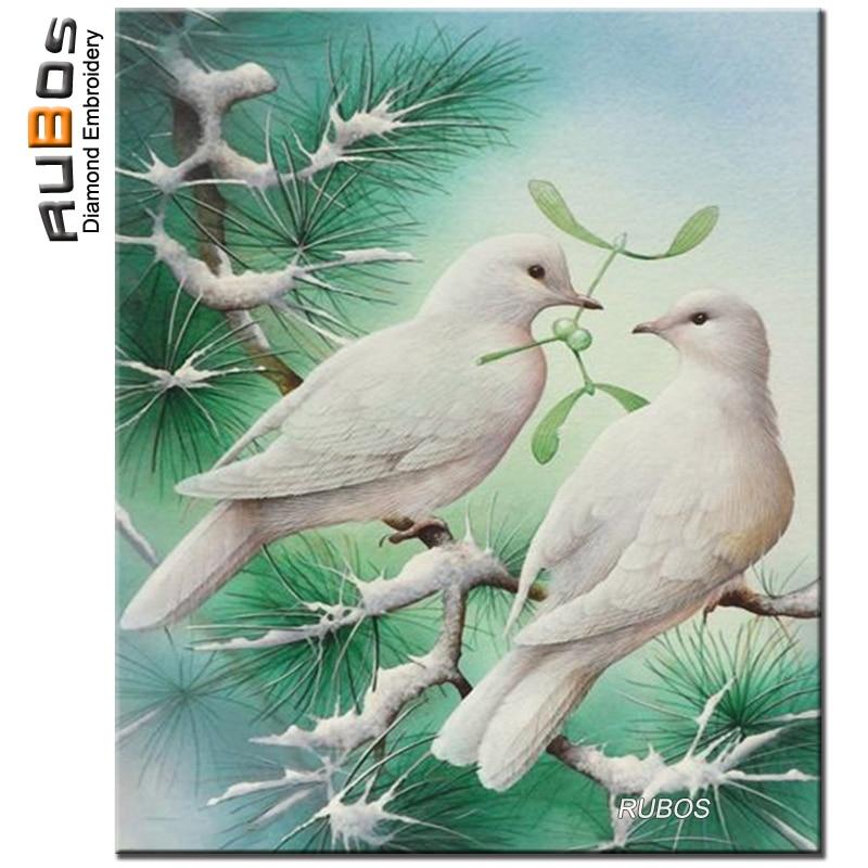RUBOS white Dove pigeon DIY 5D diamond mosaic sale diamond embroidery pattern diamond painting from crystal full Rhinestone gift (1)
