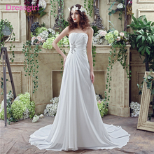 Buy Boho Vestido De Noiva 2018 Beach Wedding Dresses A-line Strapless Chiffon Lace Beaded Cheap Wedding Gown Bridal Dresses for $78.00 in AliExpress store