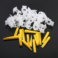 1 Pack 500 Clips + 200 Wedges Floor Wall Tile Leveler Spacers Flat Leveling System Tools